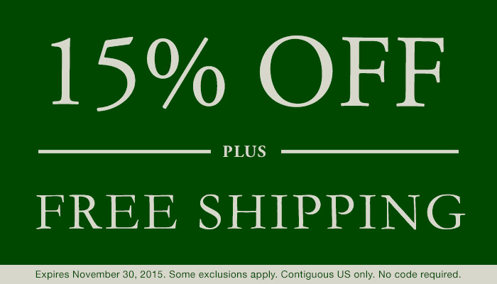 15% Off Plus Free Shipping.